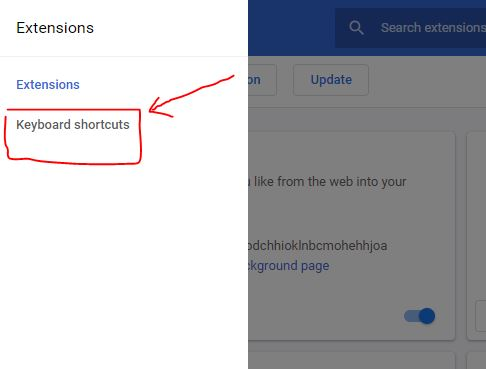 Select keyboard shortcuts for Chrome browser extensions