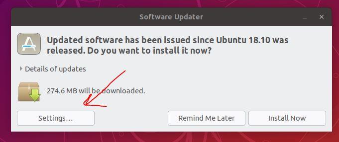 Settings to upgrade Ubuntu