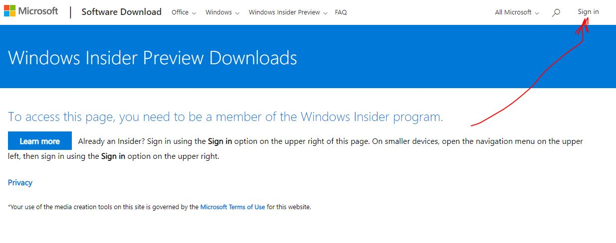 Sing in to microsoft account for downloading WIndows insider preview ISO