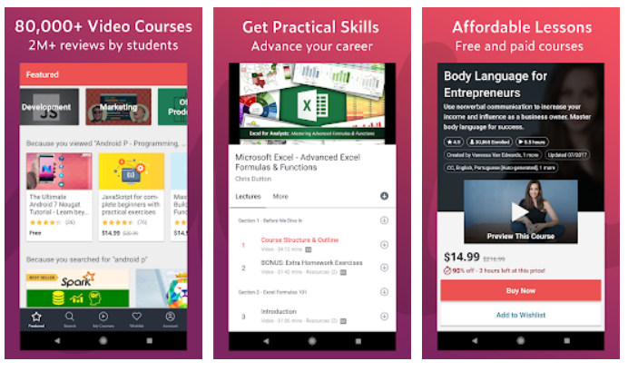 Udemy Best digital education apps