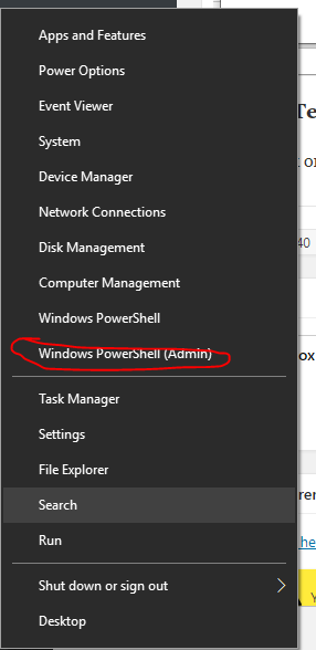 Window 10 powershell admin