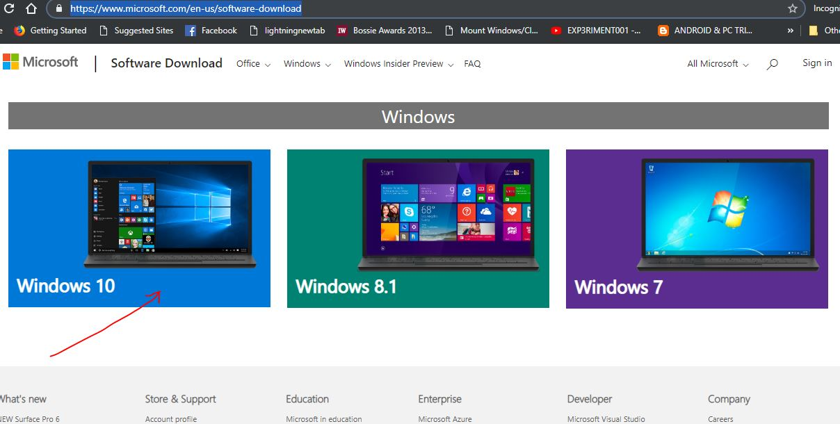 Windows 10 software download page