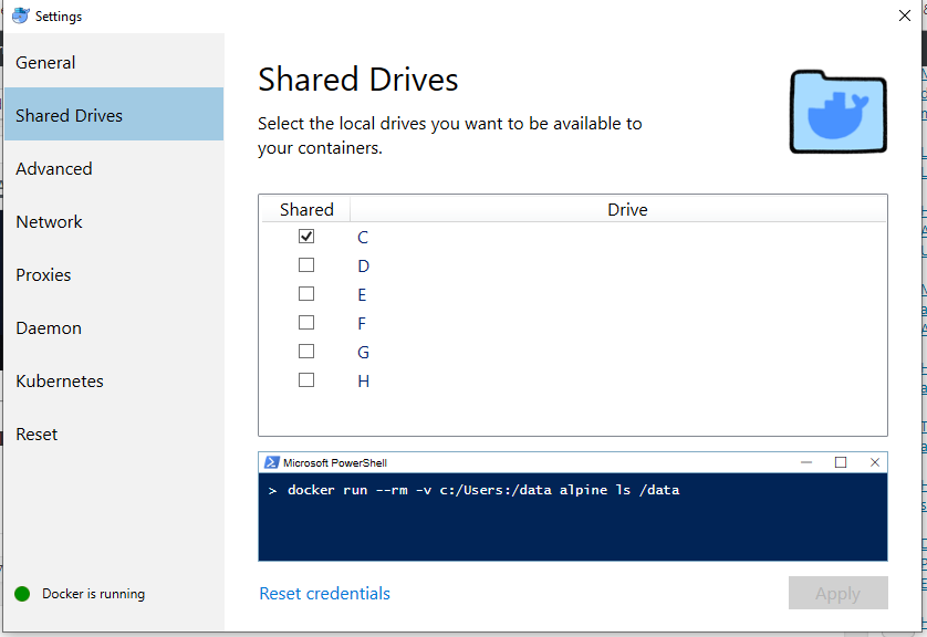 shared drives docker windows 10