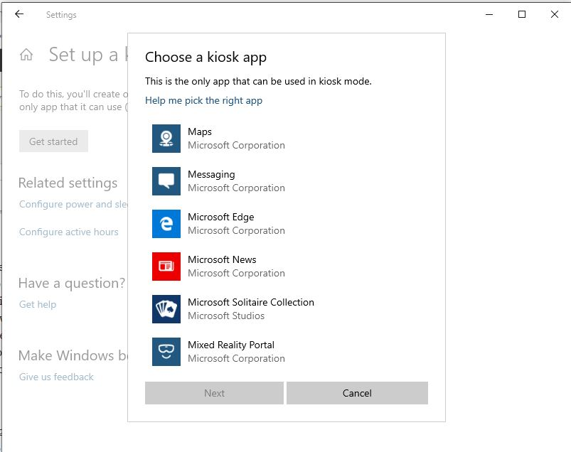 Choose windows 10 kiosk mode app