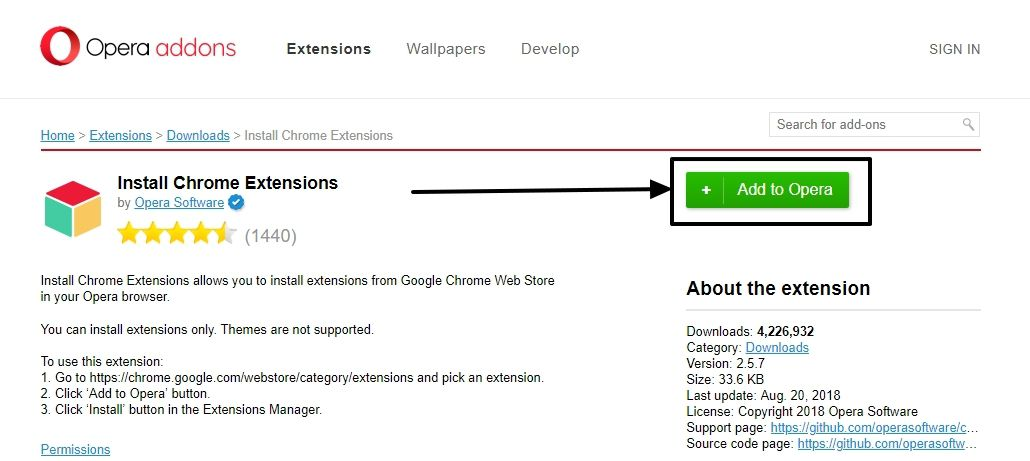 install google chrome extension in opera