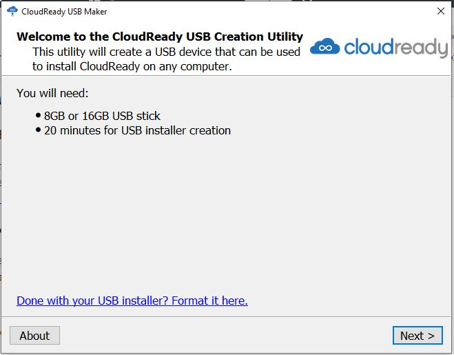 CloudReady USB creation Utility