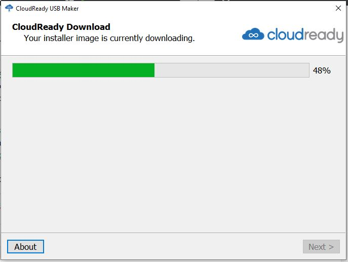 Cloudready OS downloading on WIndows