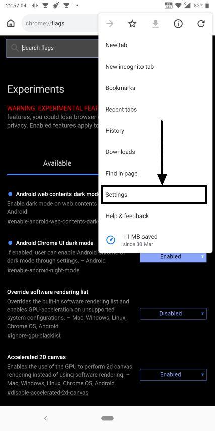 Dark mode on Chrome Android 5
