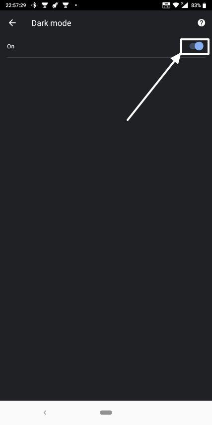 Dark mode on Chrome Android 7
