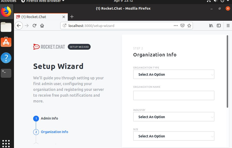 Give Organization details for Rocket chat on ubuntu 19