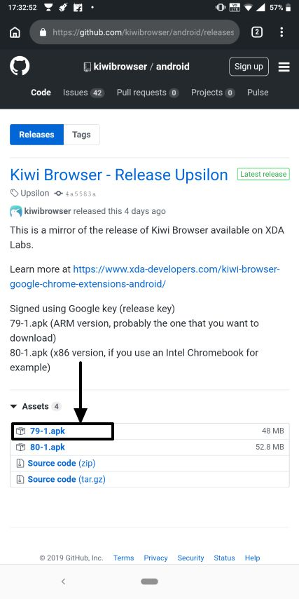 Kiwi browser Chrome apps 1