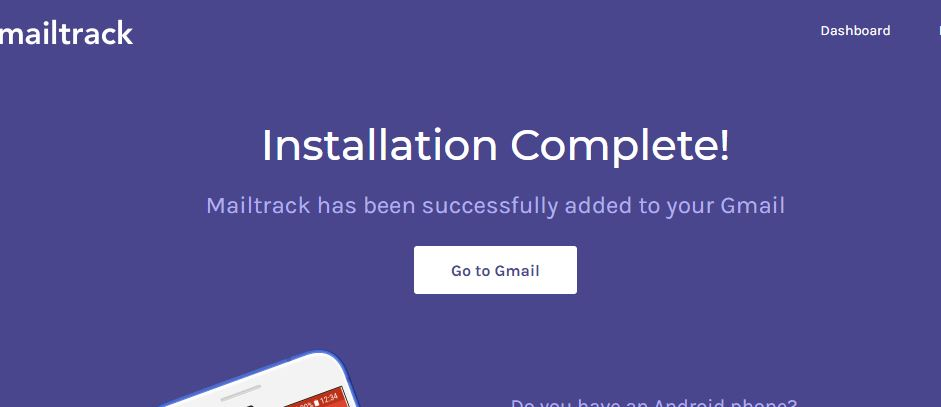 Mail tack installtion is complete