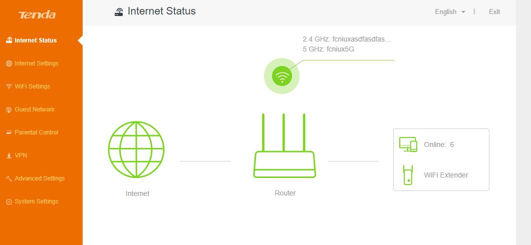 Tenda main page router