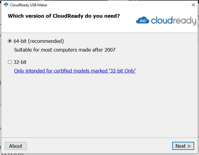 Version of CloudReady OS