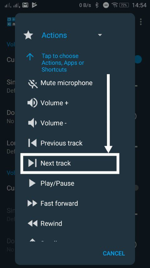 Volume button change track 10