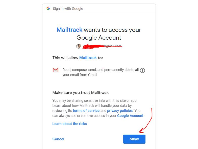 mailtrack wants to access your Google Account
