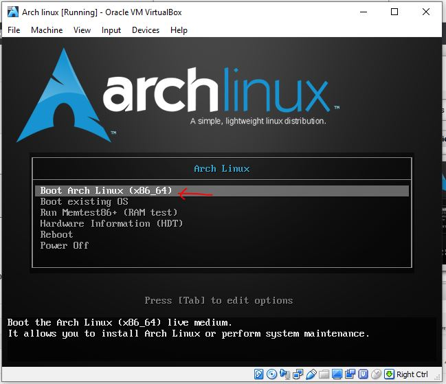Boot Arch Linux on Virtualbox