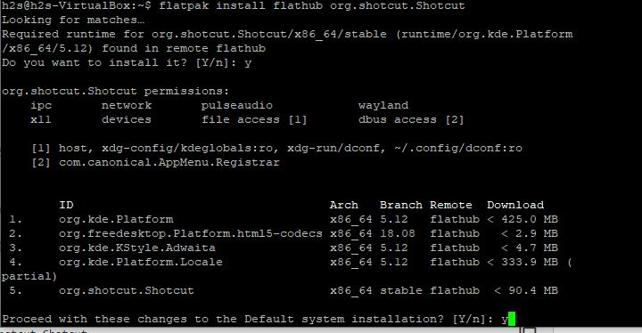 Flatpack command to install shotcut