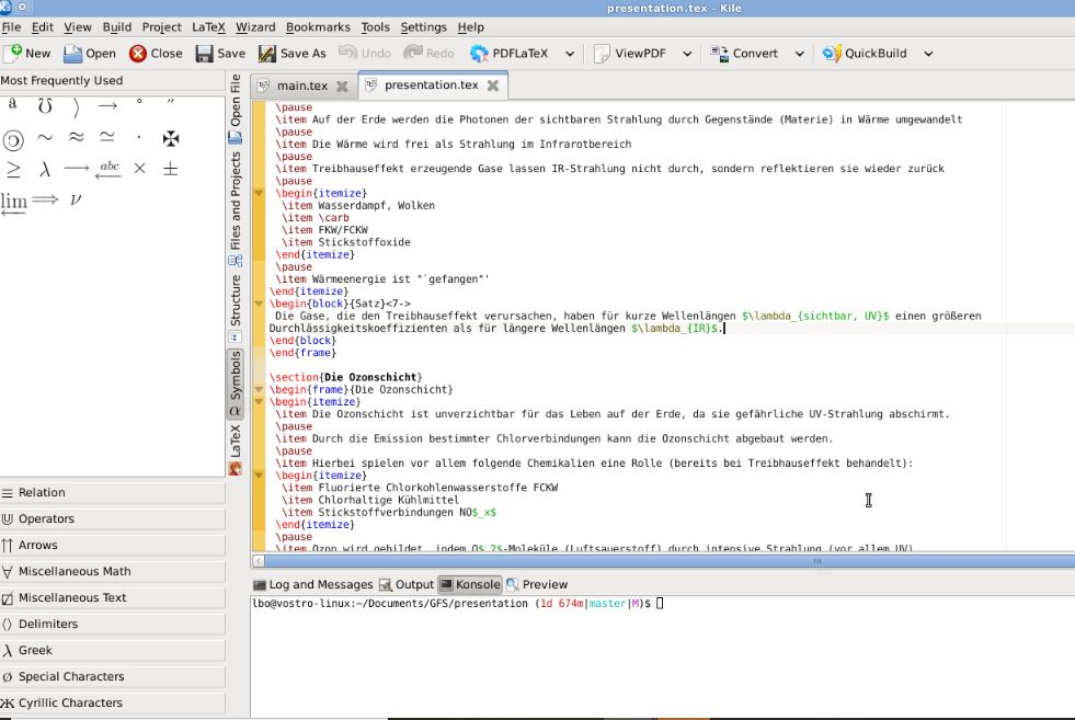 Kile Latex editor Linux and Windows