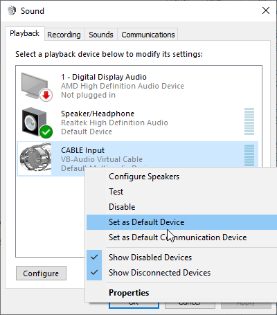 Select Cable Input as Playback device