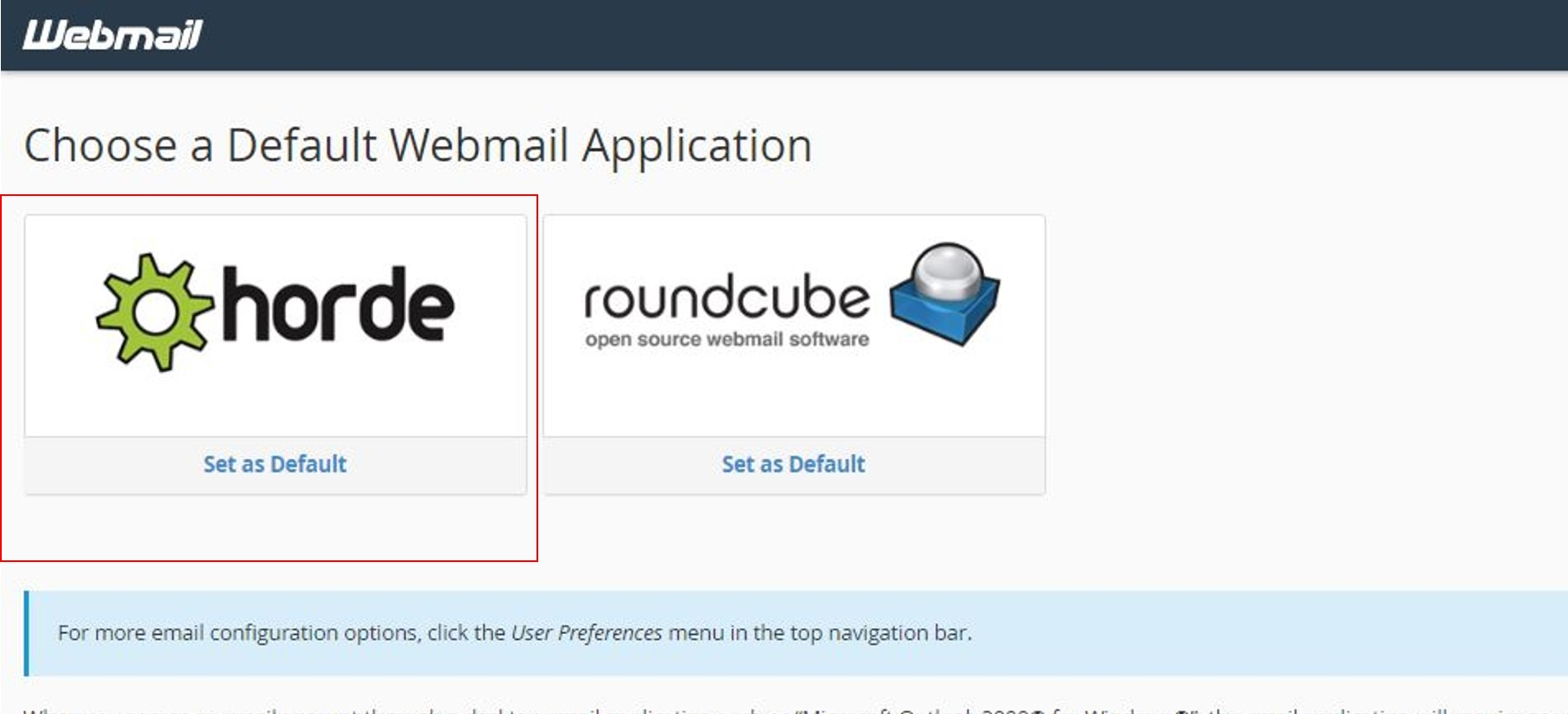 Select Horde as deafult mail on Cpanel