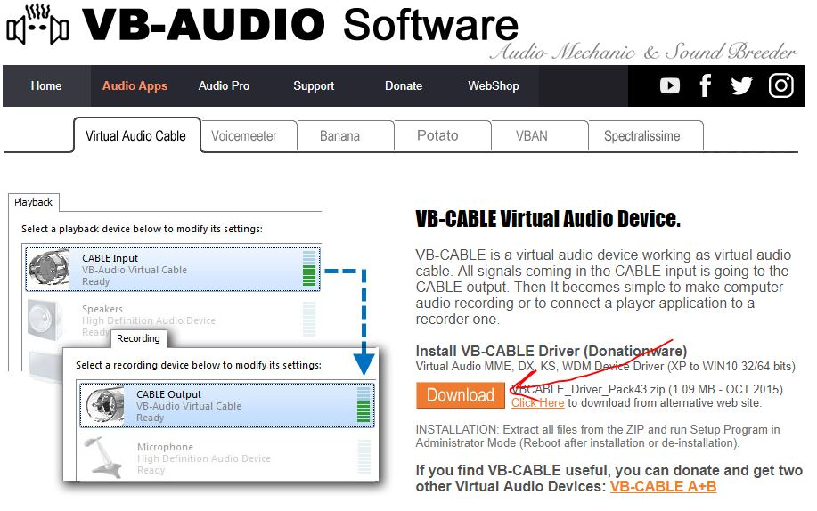 VB-aduio virtual audio cable software