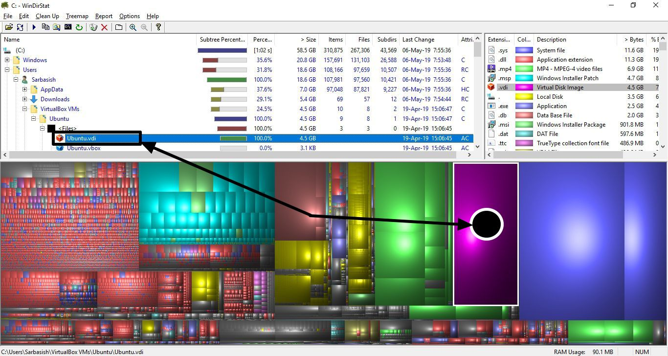 WinDirStat diak space analyzer for windows 10