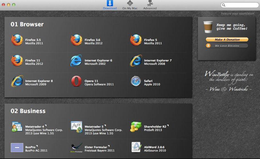 Winebottler to run windows program on Mac