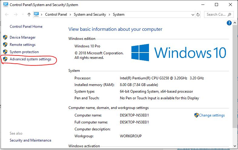 system advance settings windows 10