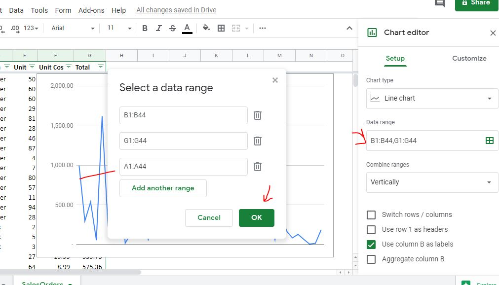 Add data range to Line graph on Google Sheet