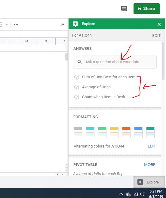 Ask questions to Google sheet
