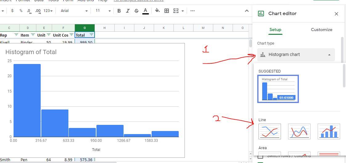 Chart editor for Line graph selection