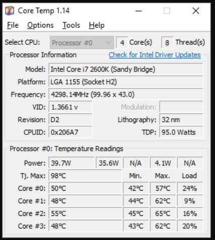 Core Temp CPU info tool