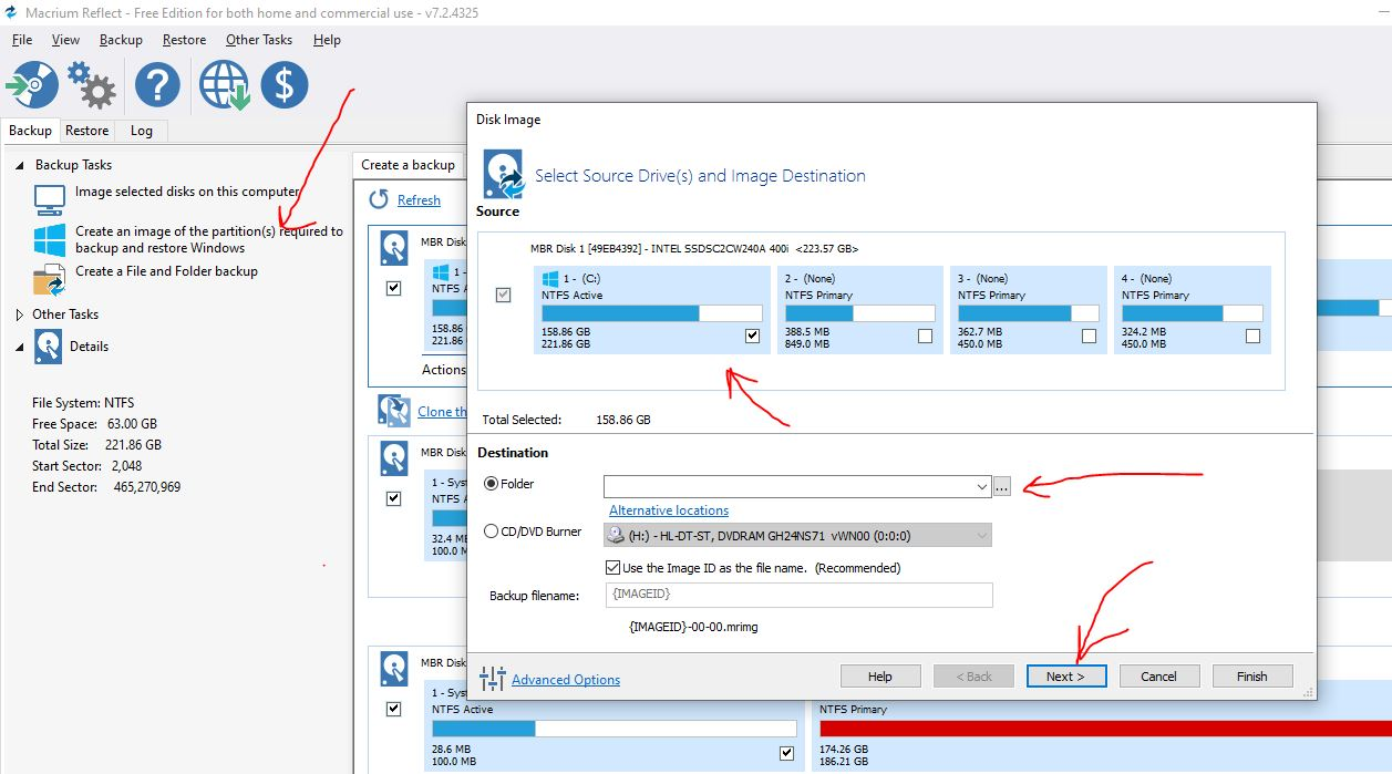 Create a bare metal recovery image of Windows 10 using MAcrium Refelct