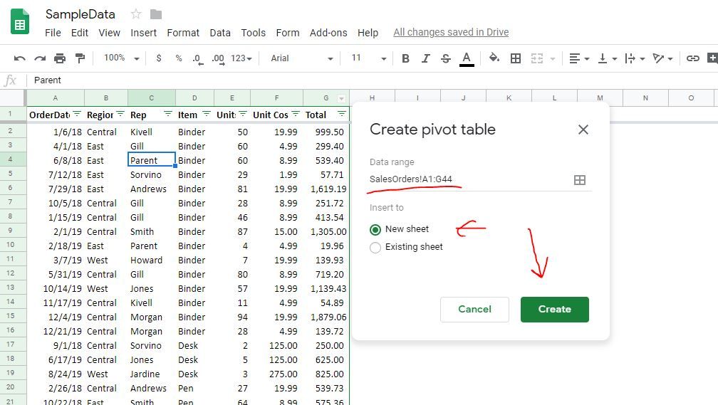 Create pivot table in Google sheet