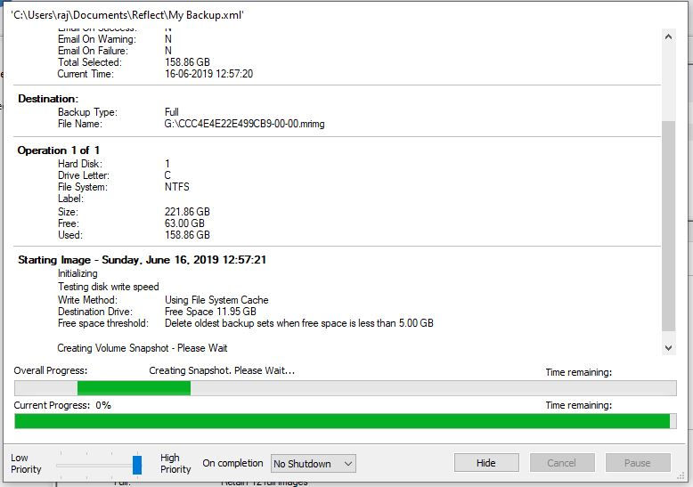 Creating backup using Macrium Reflect