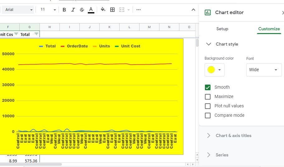 Customize google sheet charts