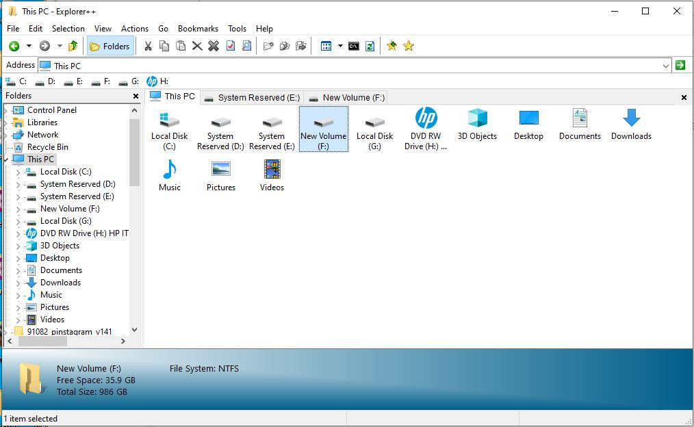 Explorer++ is a lightweight and fast file manager for Windows