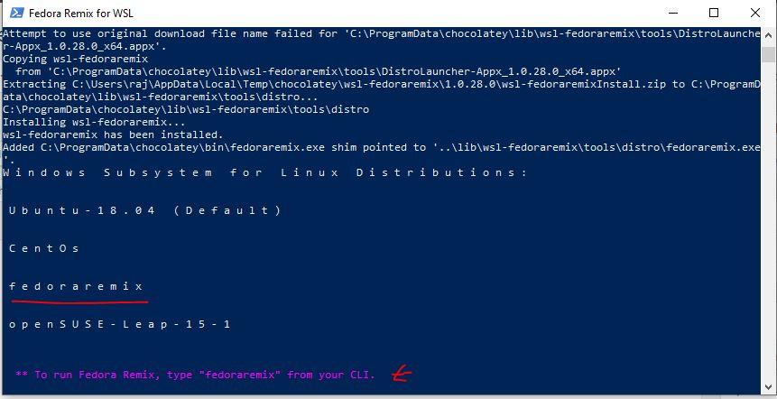 Fedora remix installed on WSL windows 10