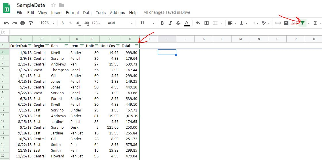 Filter data in Google sheet