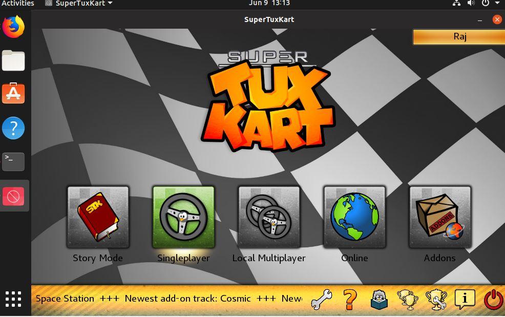 Gaming mode of Supertuxkart