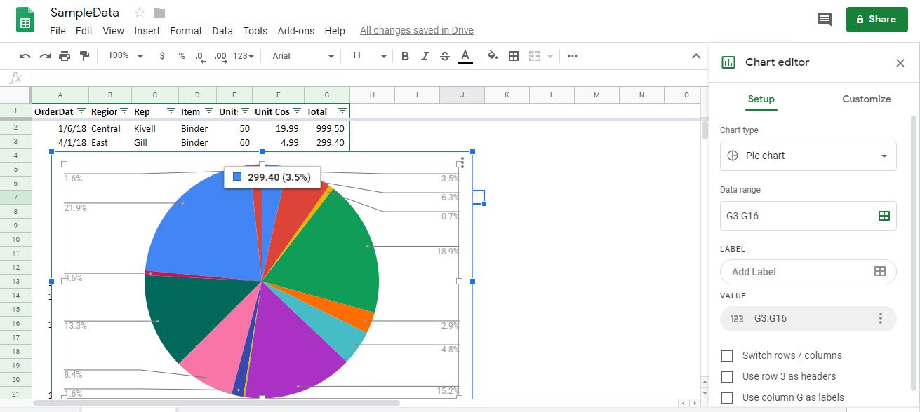 Google Sheet graph creation of data