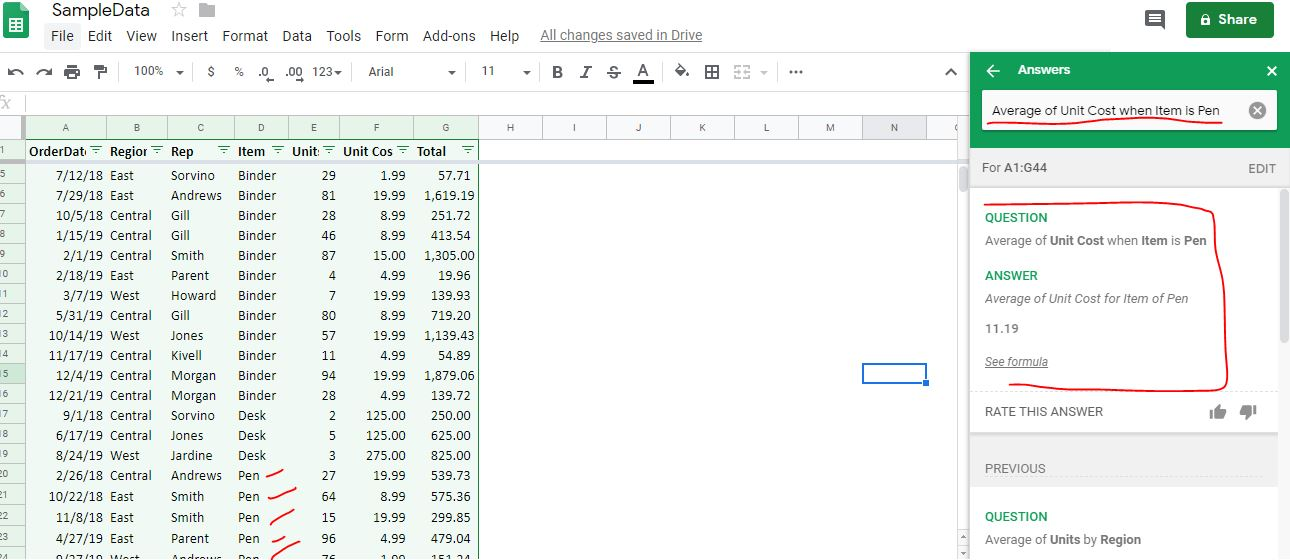 Google sheet data analysis using Google Machine learning 2