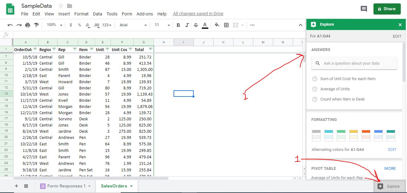 Google sheet data analysis using Google Machine learning