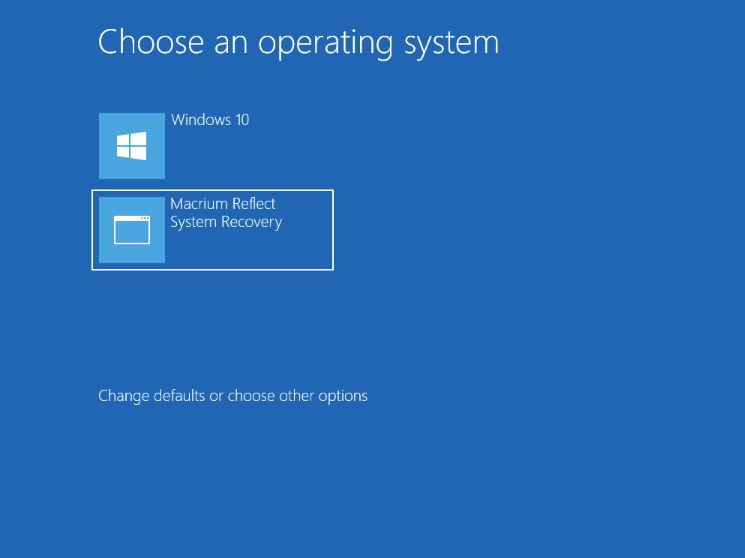Macrium Reflect System Recovery in the Windows 10-7 boot menu.