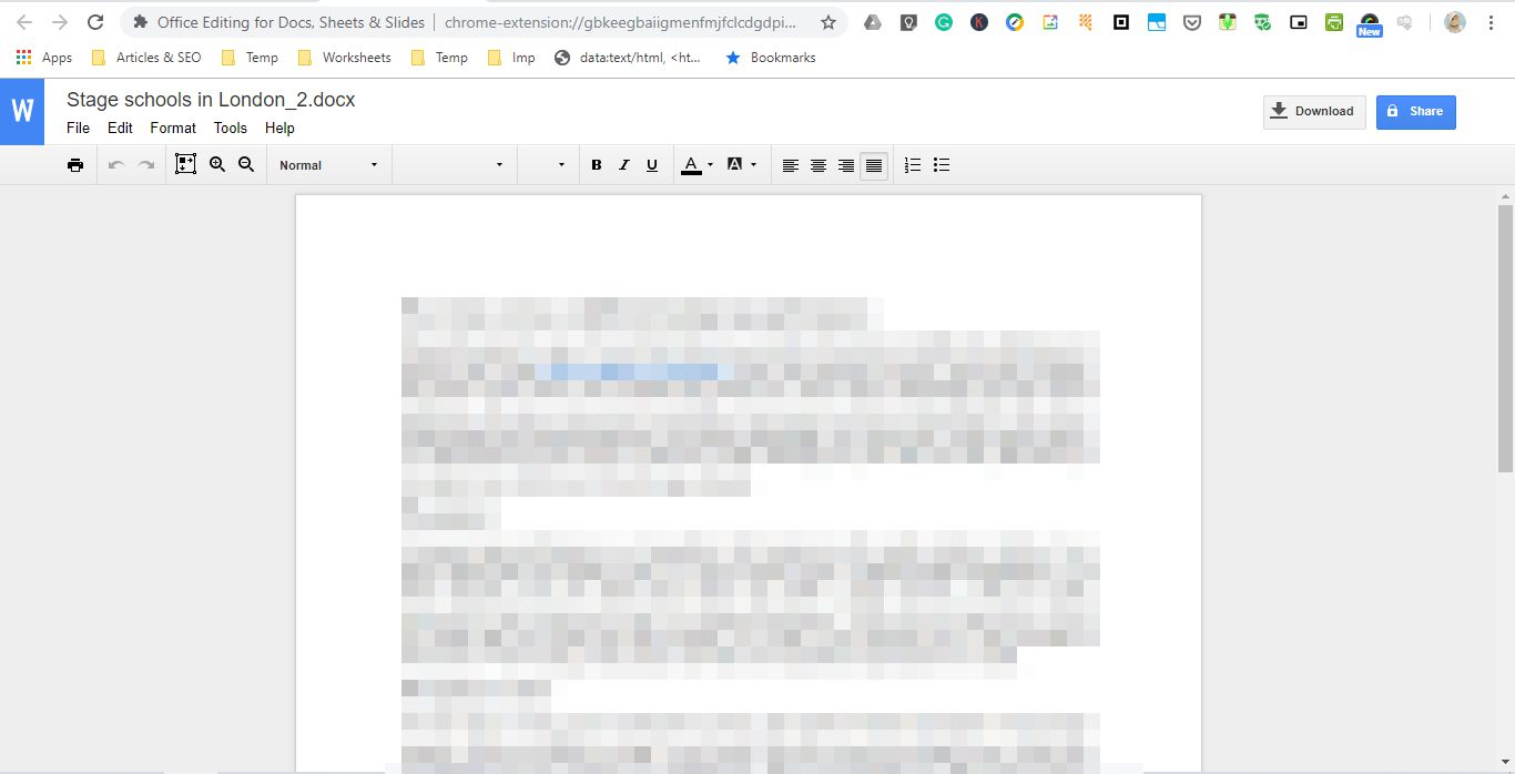 Microsoft Office document using extension
