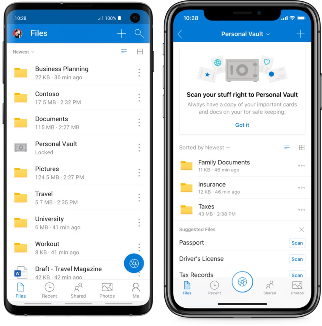 Onedrive secure personal vault