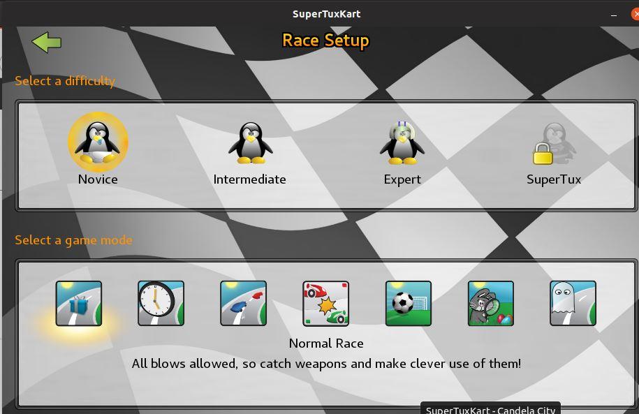 SuperTuKart linux Race setup