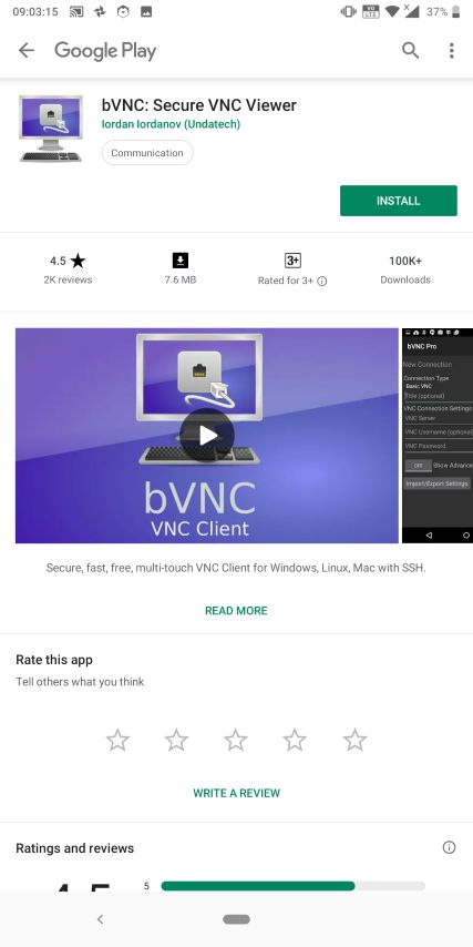 Install bVNC or RealVNC app on Android