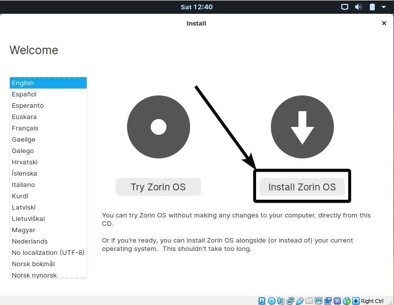 Install Zorin OS